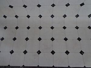 PVC CV Bodenbelag (6,99€/m²) Fliese schwarz weiss 200 cm breite 2 ...