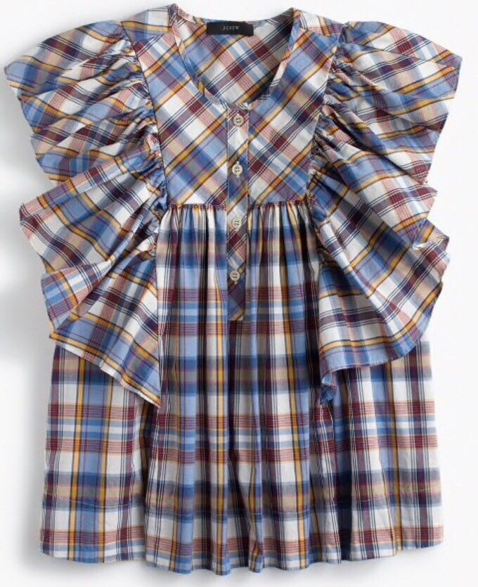 NEW JCREW  Ruffle top in vintage plaid Sz00 In Multi Farbe FA17 G7485