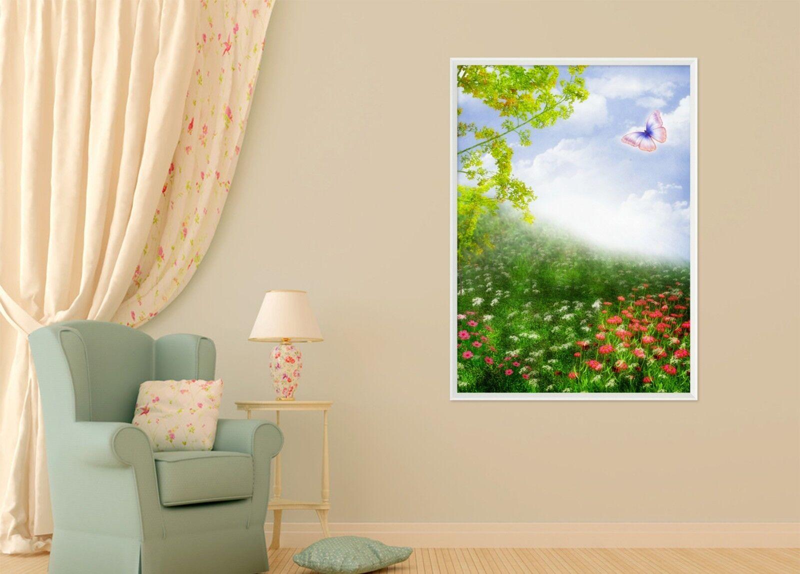 3D Flower Butterfly 6 Framed Poster Home Decor Print Painting Art AJ AU