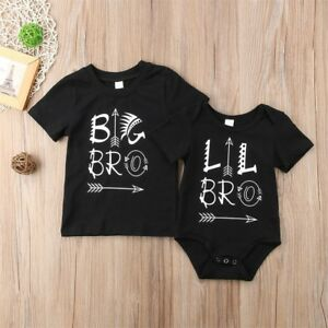 US stock Newborn Baby Kids Family Matching Little Big Brother T-shirt Top Romper