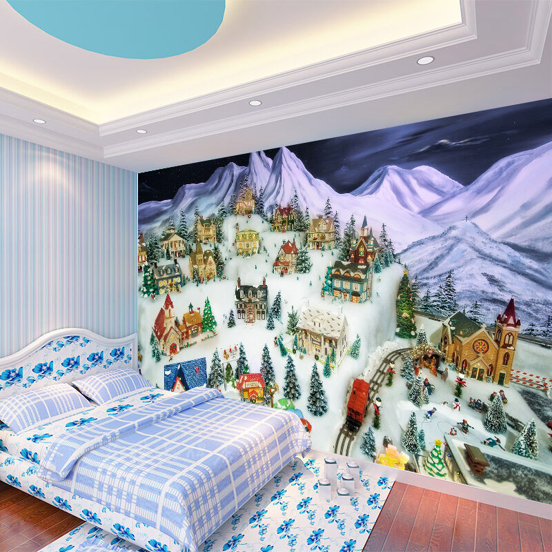 3D Mountains Houses 1439 Paper Wall Print Wall Decal Wall Deco Indoor Murals