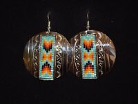 Native American Earrings Beaded & Silver Nickel Navajo Whitehorne