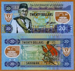 Sarawak-Malaysia-20-dollars-2017-Private-Issue-Polymer-UNC-gt-Type-2-Museum
