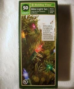 String-of-50-Christmas-Lights-Mini-Bulbs-Glass-Holiday-Time-Light-Set-12-039-Indoor