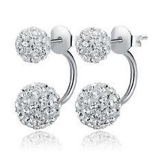 Silver Shambhala Disco Ball Swarovski Element Crystal Stud Earrings Gift