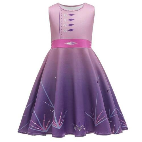 Girls Kids Frozen 2 Elsa Cosplay Costume Party Fancy Dress Swing Dress Outfit