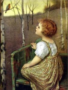 034-SPRING-SONG-034-VINTAGE-BLIND-GIRL-ROBIN-BIRD-TREE-GLUCKLICH-CANVAS-ART-PRINT