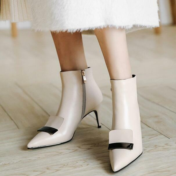 Vogue Women Leather High Heel Stiletto Ankle Boots Side Zip Pointy Toe shoes New