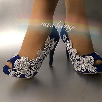 Su Cheny 4 Heel Sapphire Blue Asymmetry Lace Pearl Open Toe