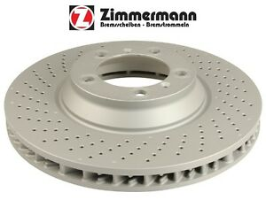 For Porsche 911 Pair Set of 2 Rear Cross Drilled Brake Disc Zimmermann Coat Z