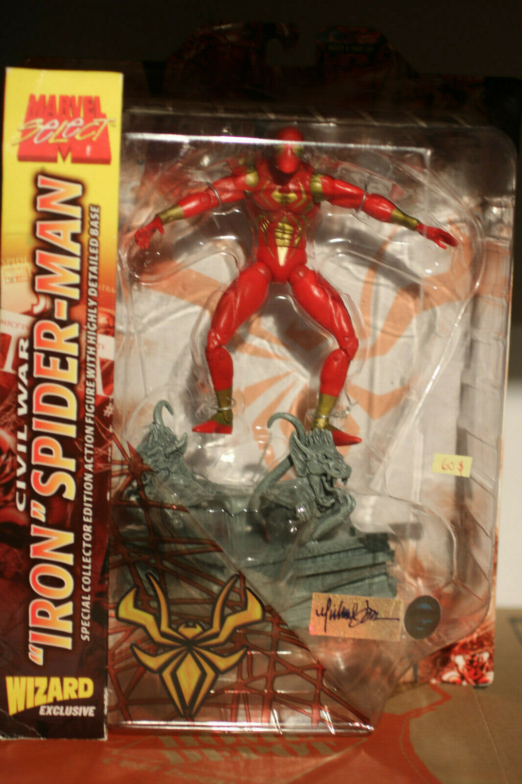 Marvel Select Iron Spider-Man Wizard Exclusive signed action figure toy UNOPENED