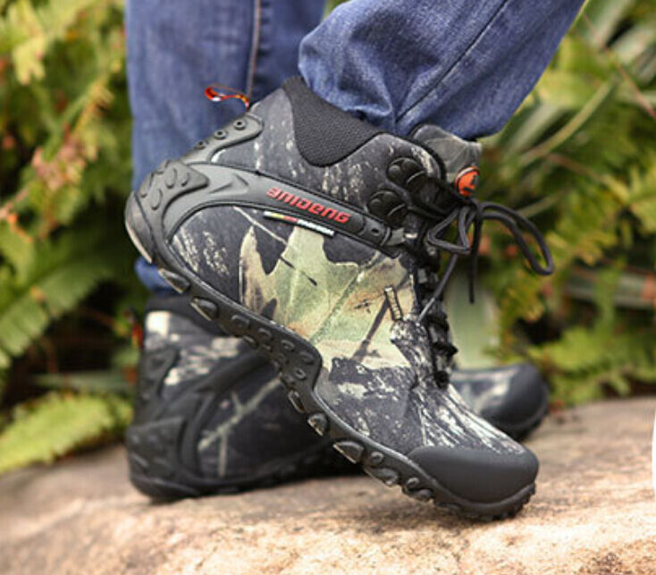 Mens Fashion Camouflage High Top Ankle Durable Outdoor Hiking Climbing Boots Sz