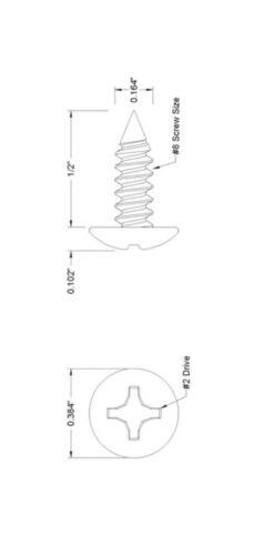 sharp #8 X 1//2 Black Oxide Sheet Metal Tapping Screws Wider 100 Larger head