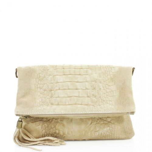 Ladies Folded Clutch Italy Soft Real Suede Leather Snakeskin Pattern Clutch Bag
