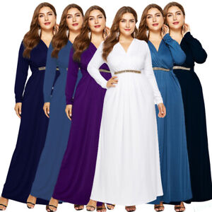 Women Loose V-Neck Tunic Long Maxi Dress Evening Party Plus Size Prom Dresses