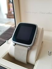 Pebble Time Steel 38mm for iOS and Android Silver Stainless Steel Case Leather