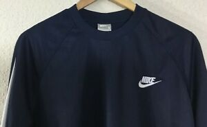 Nike-Men-039-s-Long-Sleeve-Crew-Neck-Athletics-Shirt-Blue-w-White-Trim-Size-S