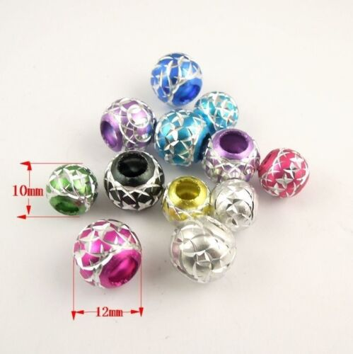 100PCS Aluminum Mixed Color Beads Jewelry Craft Findings Size 12mm 10mm 38469