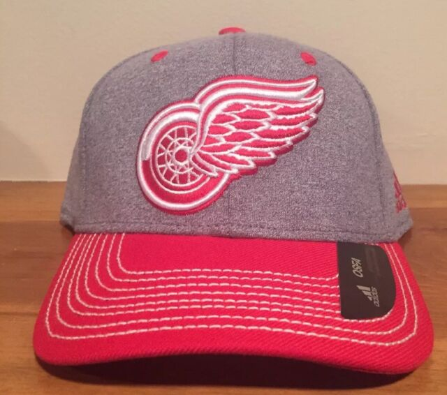 timeless design dd85c 62b0a Adidas Detroit Red Wings Heathered Gray Red Snapback Adjustable Hat Cap Line