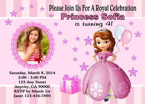 Charming Image Is Loading SOFIA THE FIRST CUSTOM PHOTO BIRTHDAY PARTY INVITATION
