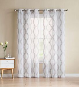Image Is Loading Two 2 White Sheer Curtains Gold Taupe Embroidered
