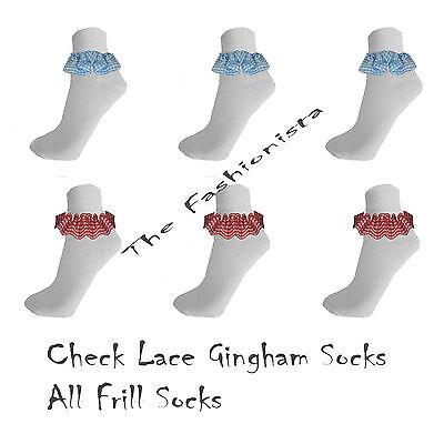 12,6 Pairs Kids Girl Lace Socks Gingham Frill White School Dance Uniform All Siz