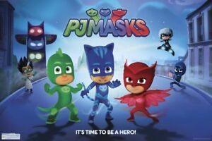 PJ-Masks-Street-POSTER-61x91cm-NEW-Owlette-Catboy-Gekko-It-039-s-time-to-be-a-hero