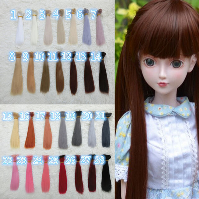 28 Colours DIY Doll Straight Hair Wig for 1/3 1/4 1/6 BJD SD LUTS Dollfie New