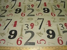"~9 YDS~MODERN ""NUMEROLOGY"" LETTERS~ LINEN UPHOLSTERY FABRIC FOR LESS~"