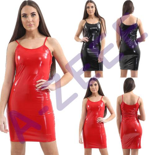 Womens Ladies Dress Vinyl Pvc Bodycon Sleeveless Summer Club Night Clubwear 8-14