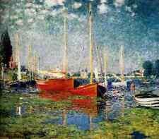 Metal Sign Monet Claude The Red Boats Argenteuil A4 12x8 Aluminium