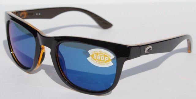 68be97c492 COSTA DEL MAR Copra 580 POLARIZED Sunglasses Shiny Black Amber Blue Mirror  580P