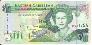 East-Caribbean-States-5-Five-Dollars-Antigua-P-26a-UNC-Queen-Elizabeth-II-1993