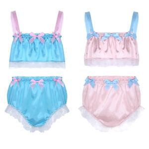 Men-039-s-Silky-Lace-Crop-Top-Underwear-Sissy-Bulge-Pouch-Panties-Briefs-Underpants