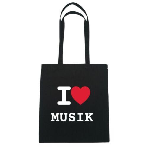 Farbe Jutebeutel Tasche Beutel Hipster Bag I love MUSIK schwarz