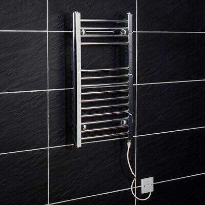Electric Heated Towel Rail Warmer Radiator - Chrome - 700 x 400 - 150W Manual