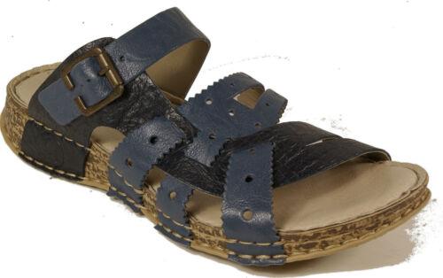 RIEKER Schuhe Pantoletten echt Leder blau Keilabsatz NEU