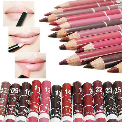 New 12 PCS Lot Colors Professional Lipliner Waterproof Lip Liner Pencil 15CM