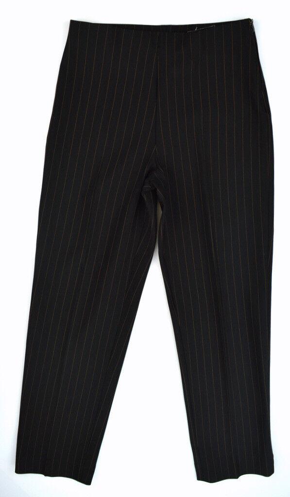 NWT LAUREN VIDAL Women's Mocha Brown Pinstripe MIRACLE FIT Dress Pants  T3, 6-8