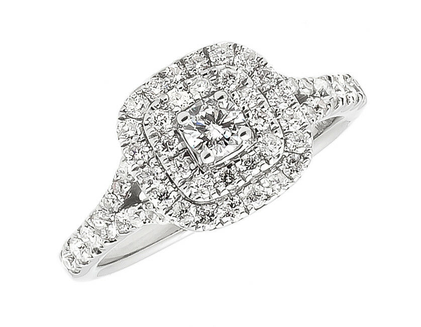 14k White gold Womens Pave Round Diamond Double Halo Engagement Ring 1.0 ct