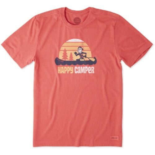 MEN/'S LIFE IS GOOD HAPPY CAMPER CANOE HEATHER AMERICAN RED CRUSHER TEE 3XL