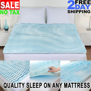 Cooling Gel Memory Foam Pillow Top Mattress Pad Cover Topper Queen