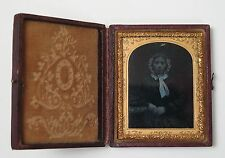 Victorian cased ambrotype photograph of woman in bonnet c1850