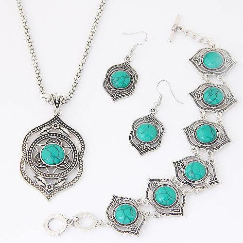Femmes Bracelet Collier Bijoux Set Pendentif Tour de cou Turquoise Hibou Boucle D/'oreille