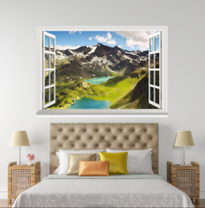 3D Hills White Snow 224 Open Windows WallPaper Wandbilder Wall Print AJ Jenny