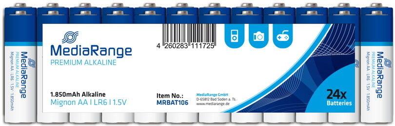 240 Mediarange Premium AA   Mignon Alkaline Batterien in 24er Folie
