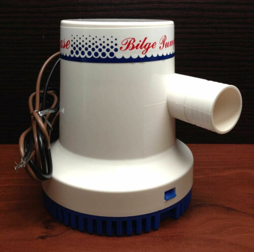 "Marine Boat 1500 GPH ABS Manual Bilge Pump 12V Straight hose Adaptor 1.2/"" Hose"