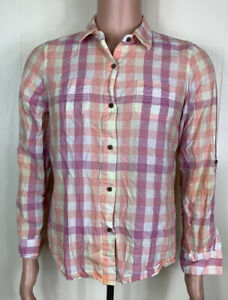 The-North-Face-Women-039-s-Pink-amp-Purple-Plaid-Button-Up-Tab-Sleeve-Shirt-Size-L