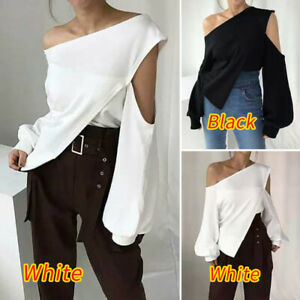 Women-Loose-Off-Shoulder-Holiday-Plain-Party-Blouse-Cocktail-Shirt-Top-Plus-Size