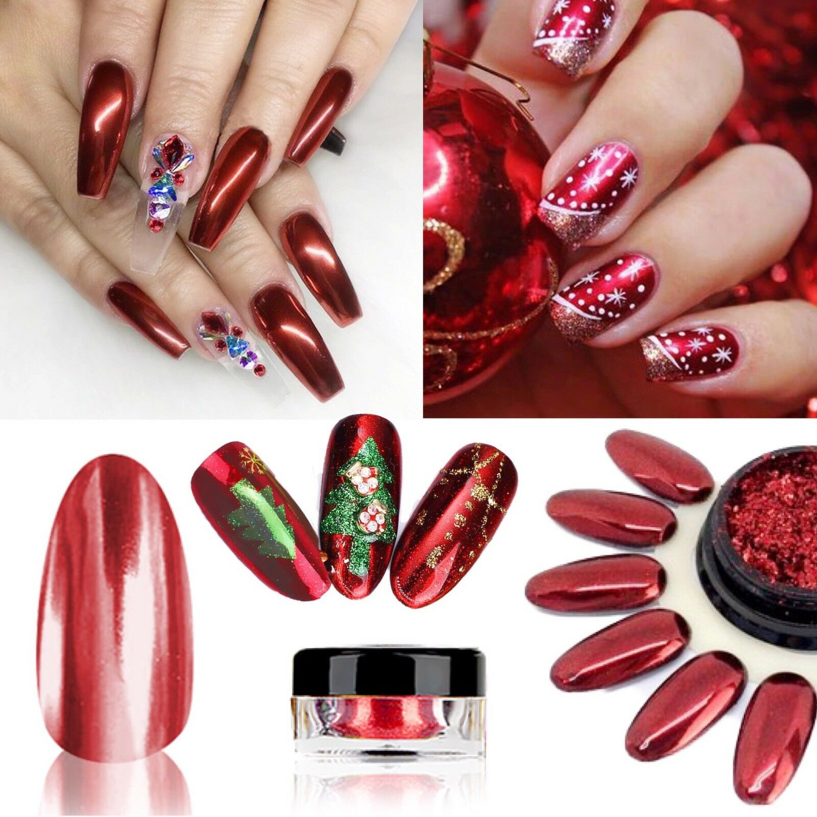 Chrome Nail Powder Cnd: RED MIRROR POWDER PLATINUM Nail Chrome Nails Pigment